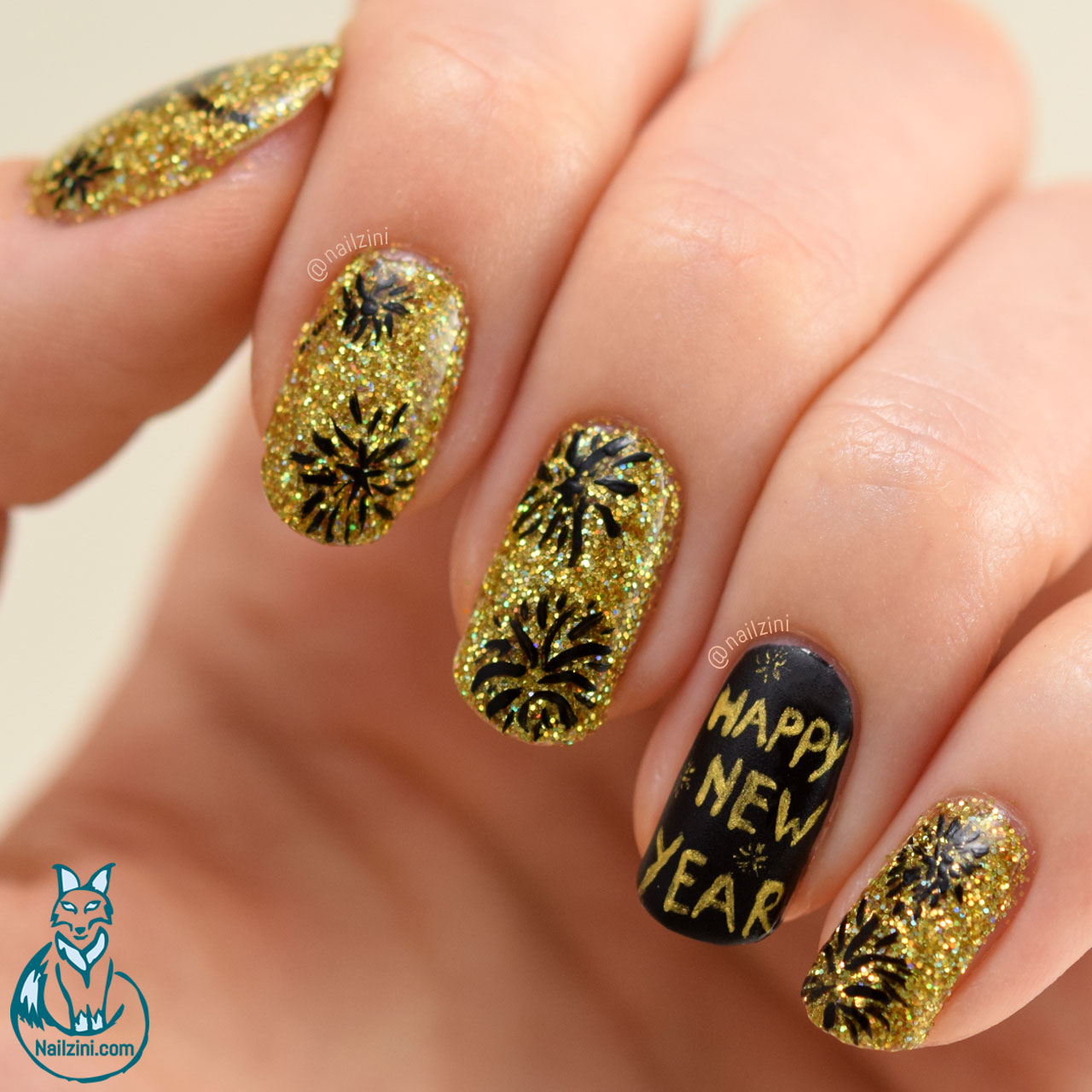Holographic New Year Fireworks Nail Art Nailzini