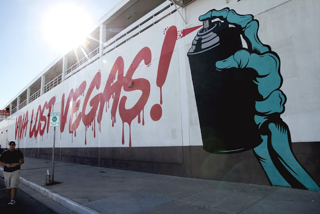 """Viva Lost Vegas!"" New Street Art Mural By British Stencil Artist DFace in Las Vegas, Nevada. 1"