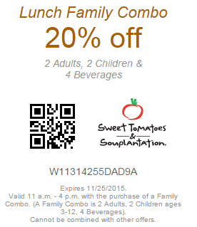 Souplantation Coupon 20% Off Lunch Family Combo