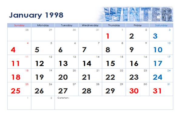 kalender 1998 januari