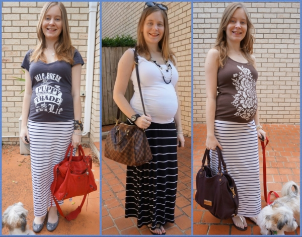 AwayFromTheBlue | 2nd Trimester Striped Maxi Skirt Outfit Ideas