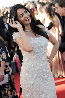 Mallika Sherawat in beautiful cream evening Hobeika Pink Beige, off shoulder Mermaid Gown