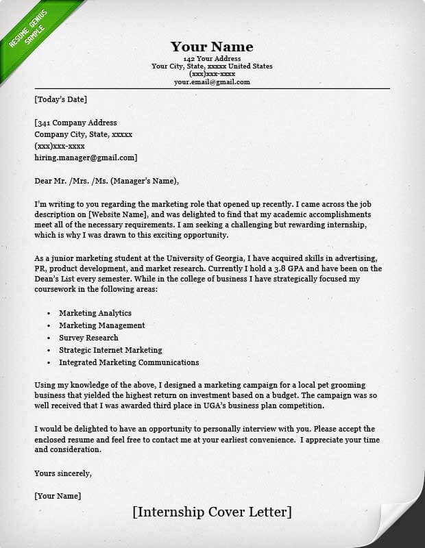 Cover Letter Examples for Intership