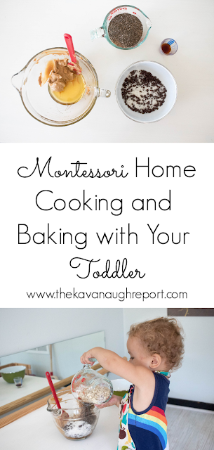A few thoughts on cooking and baking with your Montessori toddler. And a look at a toddler friendly recipe in action.