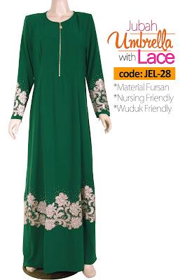Jubah Umbrella Lace JEL-28 Green Depan 4