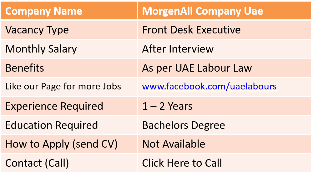 We UAE Labours offering Free New Jobs inwards Dubai to our visitors Across Globe Front Desk Executive Job inwards Dubai
