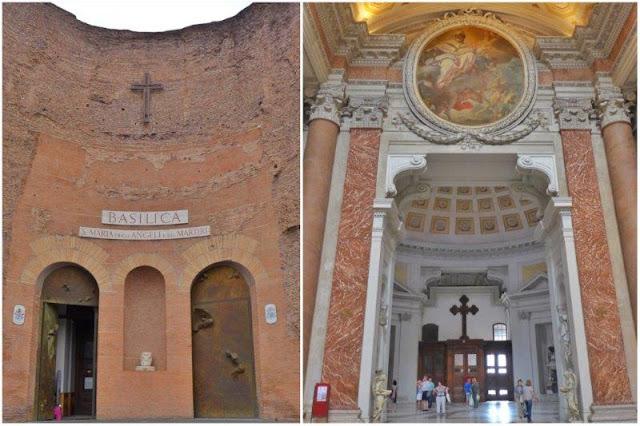 Interior  y exterior de Santa Maria degli Angeli en Roma