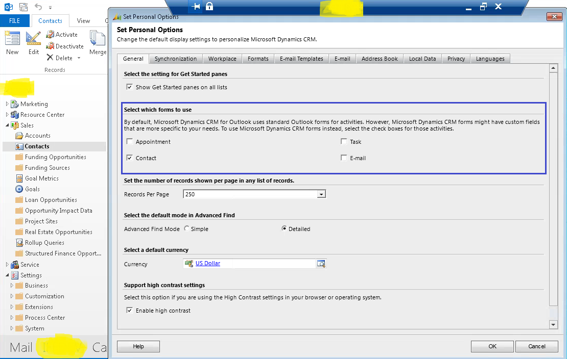 tech world open crm form in outlook contact appointment email and task