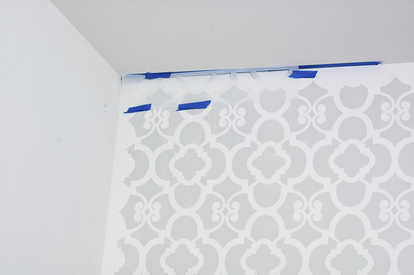 A boring office gets a minor facelift with a beautiful stenciled wall. - www.littlehouseoffour.com