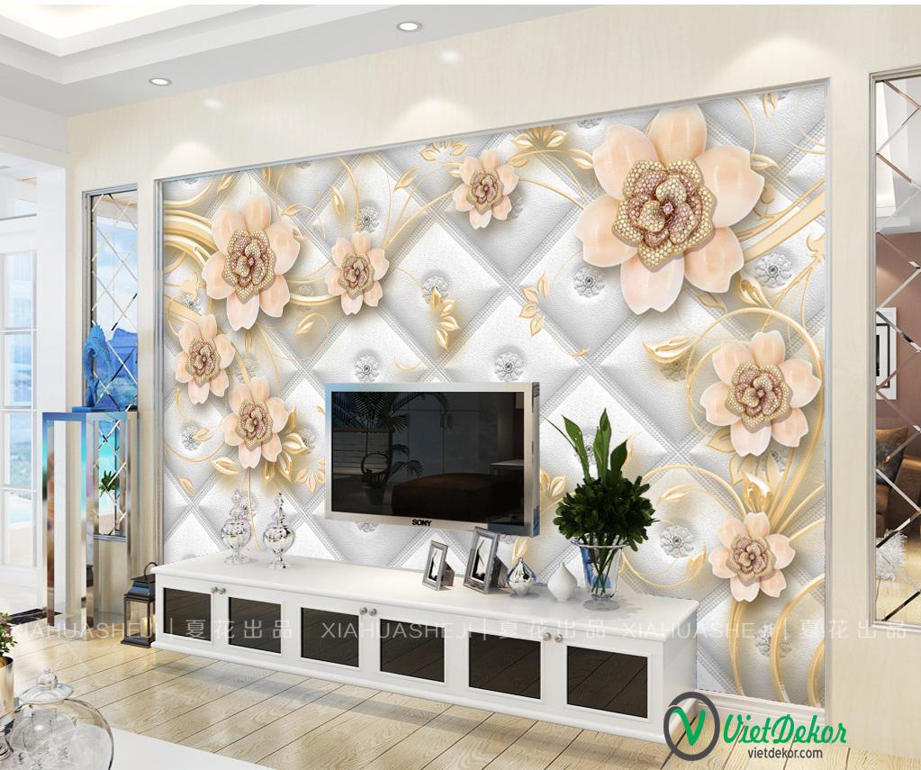 Tranh dán tường hoa 3d trang trí phòng ngủ đẹp