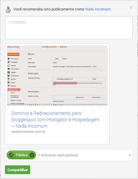 Exemplo - Google+ como fazer a divulgação do seu blogger