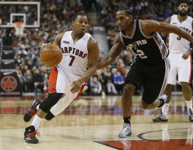 L'affiche de la nuit opposera les San Antonio Spurs (ici représenté par Kawhi Leonard) aux Toronto Raptors (ici représenté par Kyle Lowry)