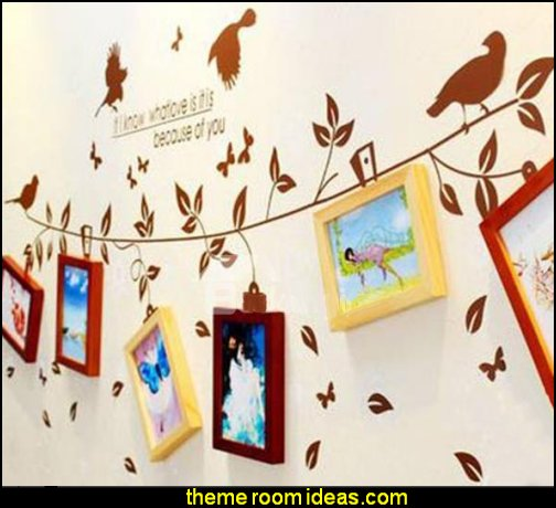 Wood Wall Photo Frame Set with Wall Stickers