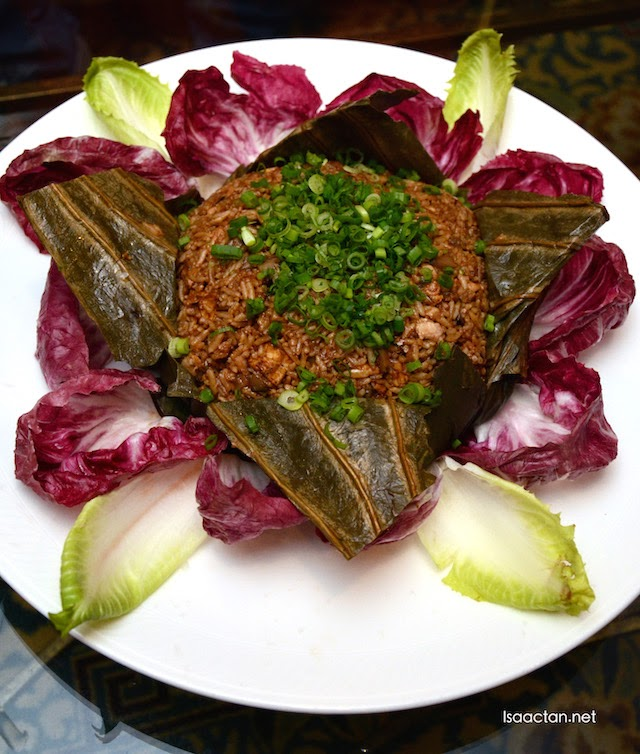 Glutinous Rice with the Assorted Preserved Meat in Lotus Leaf