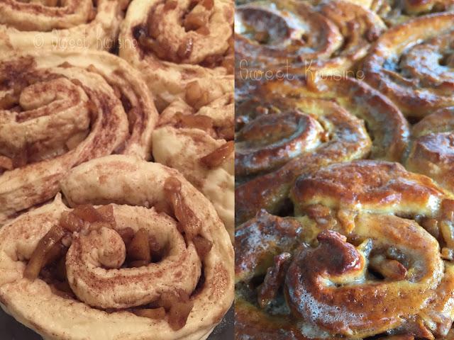 sweet kwisine, brioche, brioche roulée, pommes, cannelle, cinnamon, breakfast, petit déjeuner