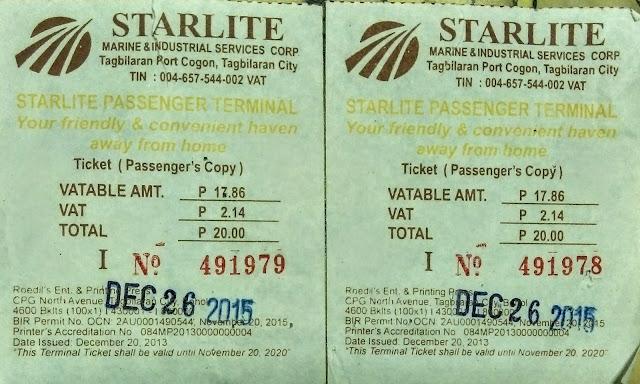 Ferry ticket, TagbilaranPort, Philippines