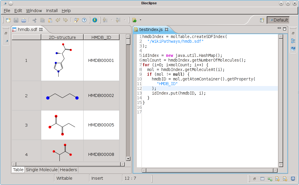 chem-bla-ics: Handling SD files with JavaScript in Bioclipse
