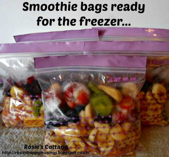 Smoothie bags ready to go into freezer