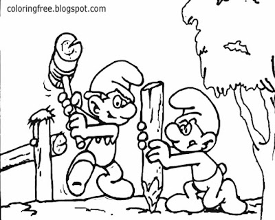 Clipart Smurfs village simple pictures for teenagers Hefty Smurf and Handy Smurf drawings to color