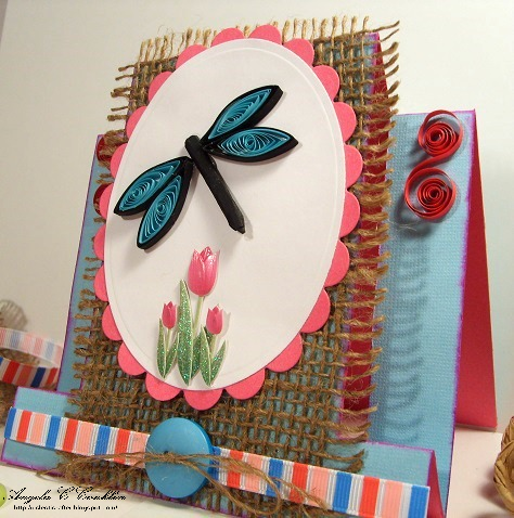 Spring Center Fold Card with Quilled Dragonfly and Burlap Mat