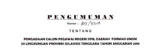 Lowongan Kerja Penerimaan CPNS Provinsi Sulawesi Tenggara Tahun Anggaran 2018 [131 Formasi]