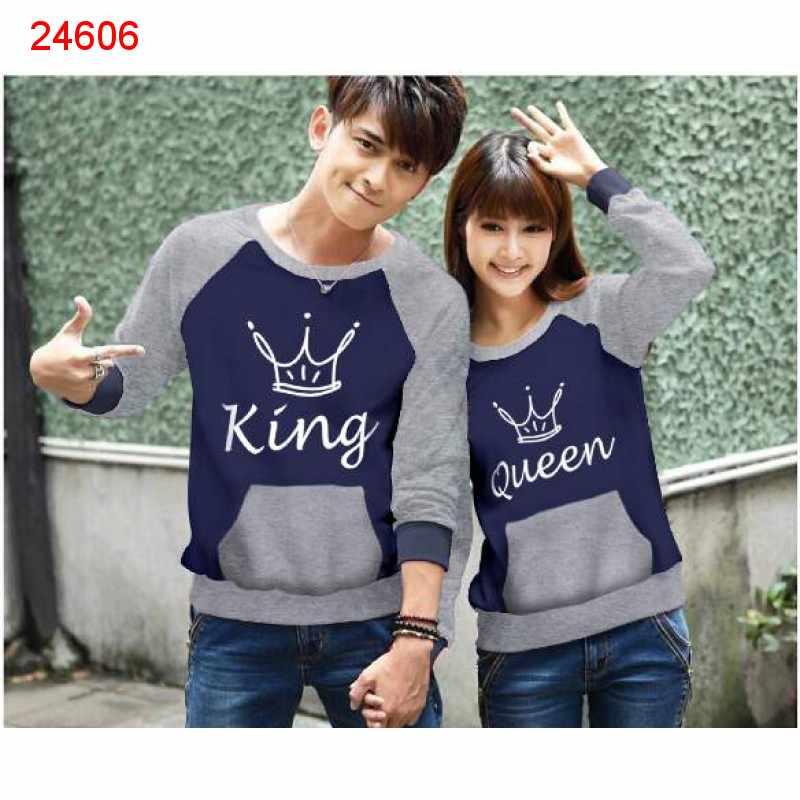 Jual Sweater Couple Sweater King Pocket Navy Misty - 24606
