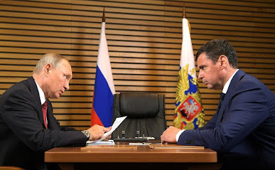 Vladimir Putin with Acting Governor of Yaroslavl Region Dmitry Mironov.