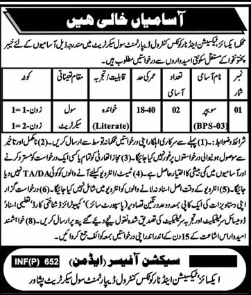 Excise And Taxation Department Peshawar jobs 2019