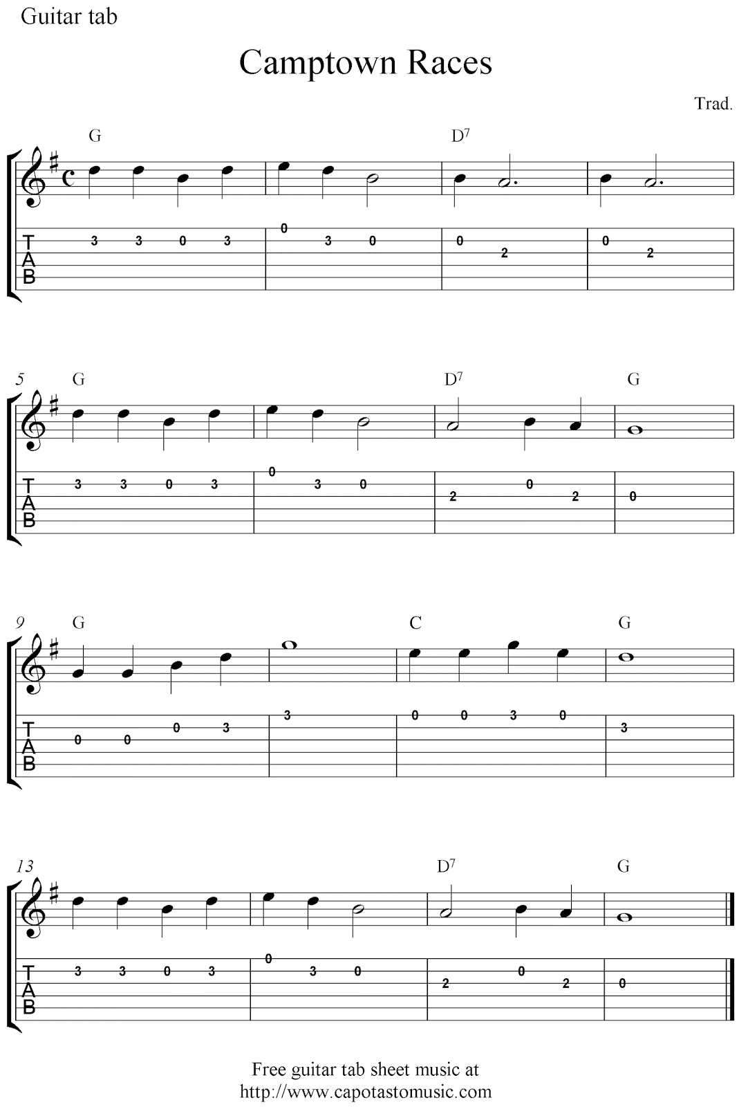 graphic relating to Printable Guitar Tab titled Guitar tabs and absolutely free sheet new music, Camptown Races