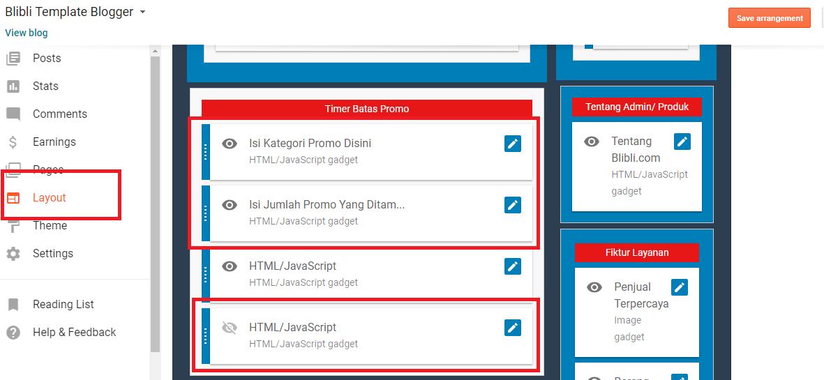 Panduan Setting Template Blibli Blogger