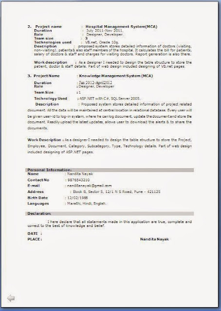 Asp Net Resume For Experienced Fresher Resume Format For Mca Student