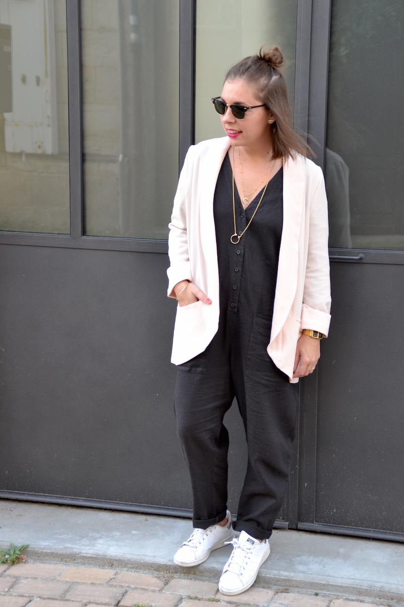 combinaison longue en lin asos, blazer pimkie,collier Lily's creations et rebecca minkoff., stan smith