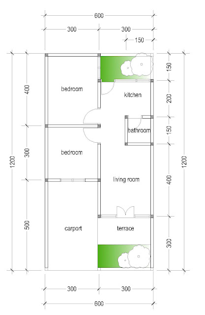 the layout of house plan A-18b