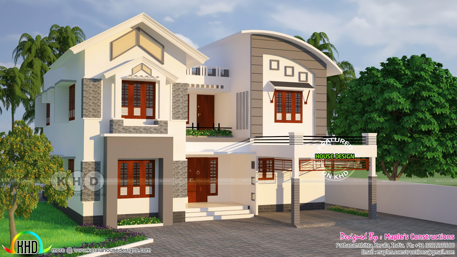 2624 square feet modern 4 bedroom house kerala home for Four square home designs