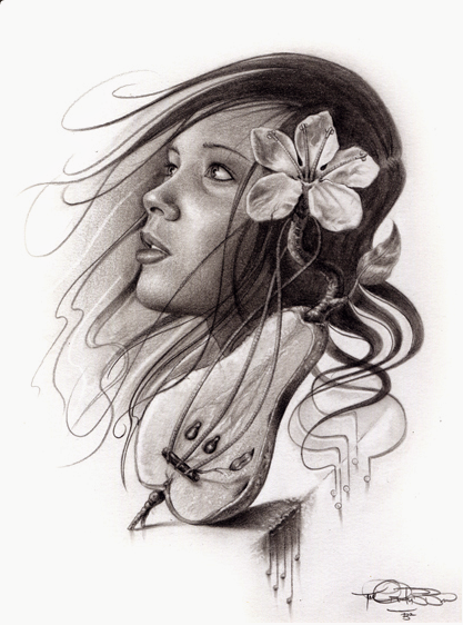 o fata cu flori in par