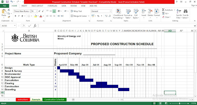Construction Schedule Excel Template