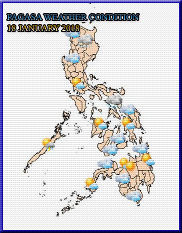 PHILIPPINE Weather Condition for today, 18 January 2018. | As of today, there is no Tropical Cyclone within Philippine Area of Responsibility. | Source Credit: PAGASA