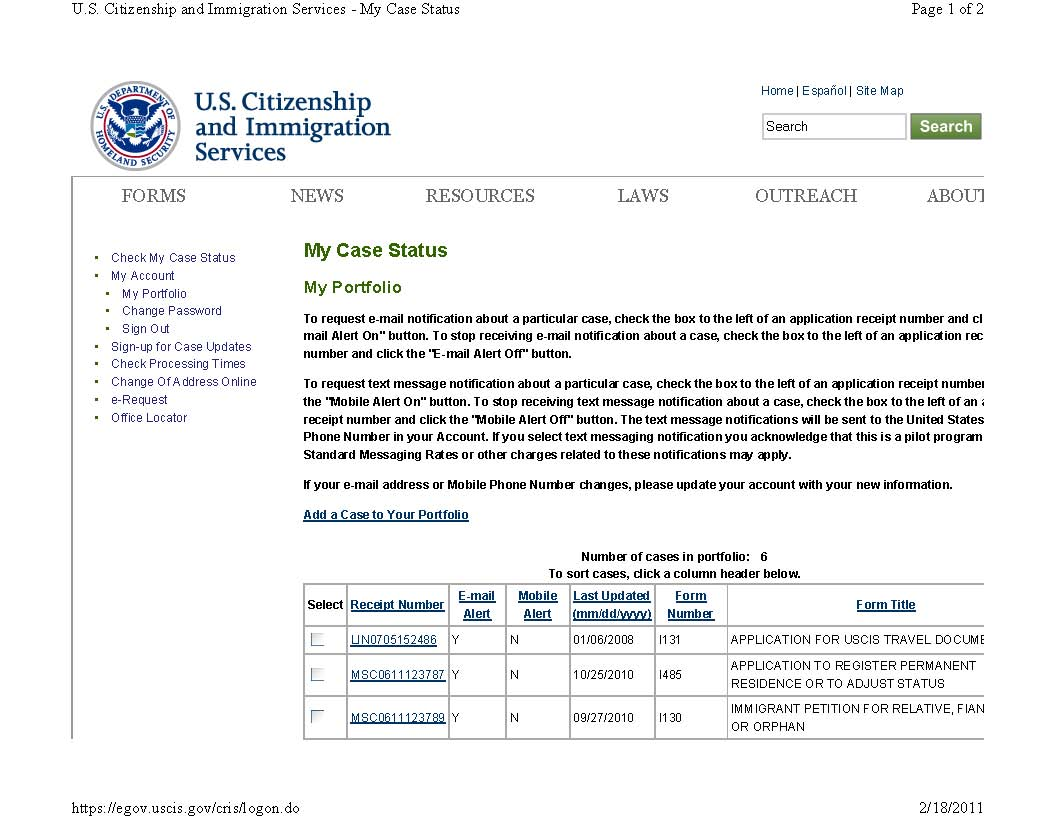 US Immigration Marriage Fraud: USCIS Case Status I-130, I-485
