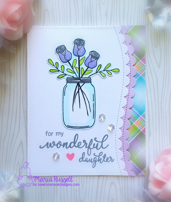 Wonderful Daughter floral card by Maria Russell | Simply Relative & Lovely Blooms Stamp sets by Newton's nook Designs #newtonsnook