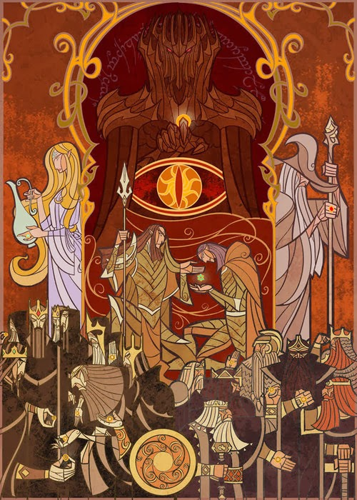 lord of the rind- middle eath- ilustraciones tolkien-vidrieras increibles-