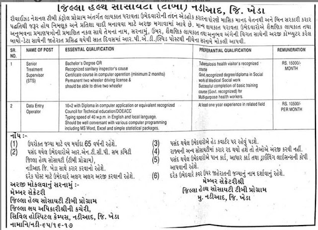 District Health Society (T.B.) Nadiad Various Recruitment 2016