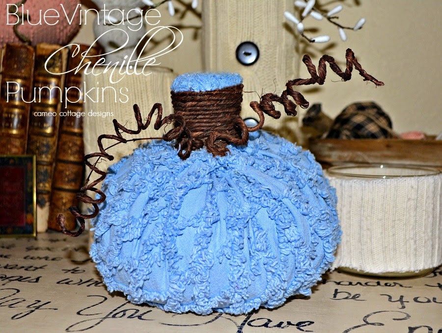 Vintage Chenille Pumpkins In Blue
