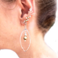 Drop ear cuffs in sterling silver and 14K gold filled beads