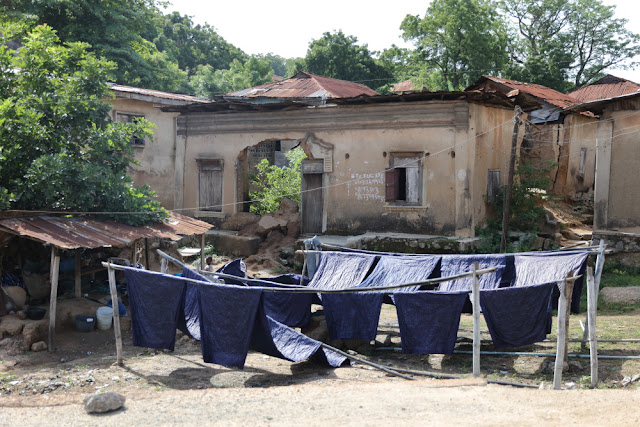 drying indigo clothes