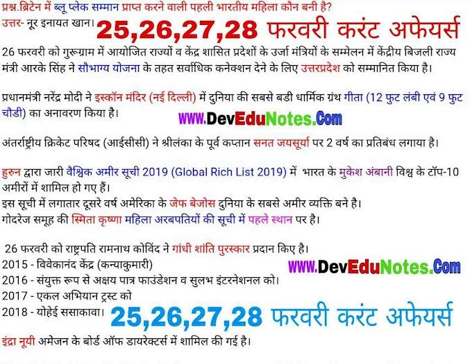 25,26,27,28 फरवरी करंट अफेयर्स 2019 || February Current Affairs 2019 In Hindi