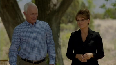 Senator John McCain (Ed Harris) chooses Alaska governor Sarah Palin (Julianne Moore) as his running mate in the 2008 presidential election in HBO's RECOUNT (2012), written by Danny Strong.