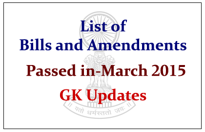 List of Bills and Amendments in March 2015