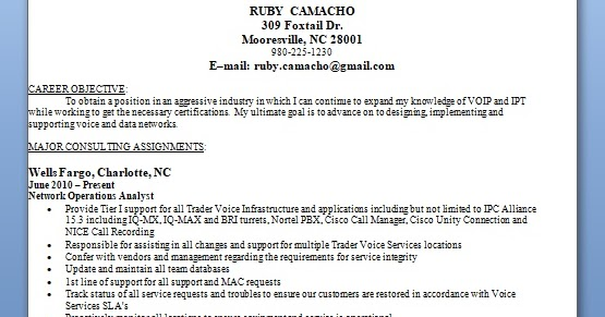 network operations analyst sample resume format in word