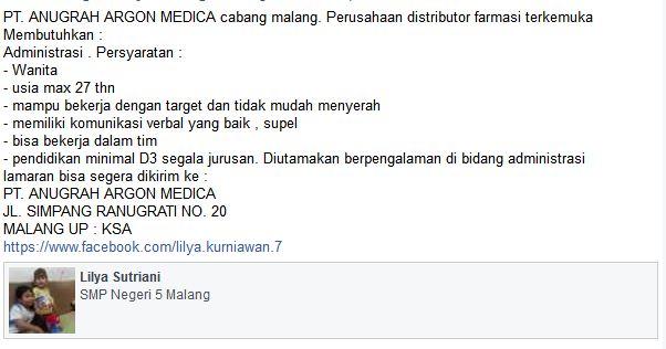 Lowongan Kerja PT. Anugrah Argon Medica Malang, Februari 2017