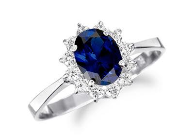 nhẫn đính hôn đá Sapphire xanh